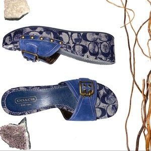 Coach Trevina Suede Navy Wedge Sandals NWT